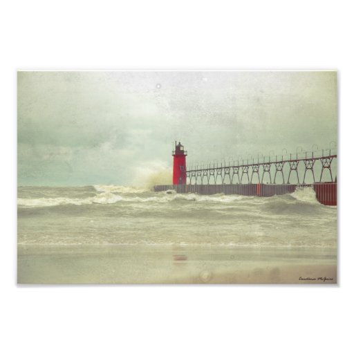 Old Photograph Lake Michigan Lighthouse