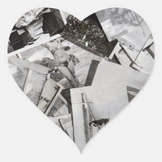 Old photos. heart sticker