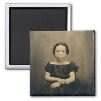 Old Phtograph of a Victorian Girl 2 Inch Square Magnet