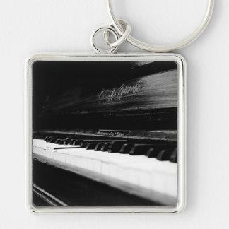 Old Piano Silver-Colored Square Keychain