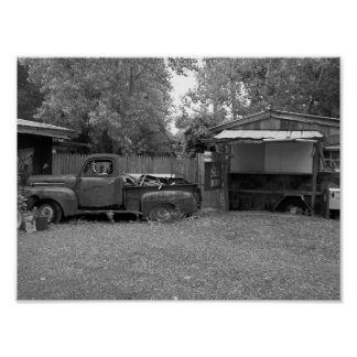 Old Pickup Truck Black And White Photography Poster