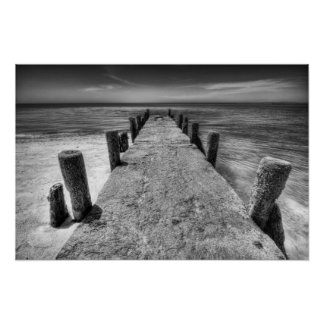 Old Pier Black and White Photograph Poster
