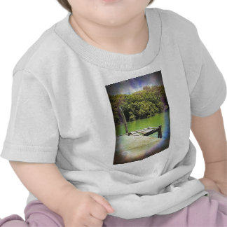 Old pier on a tranquil river t shirt