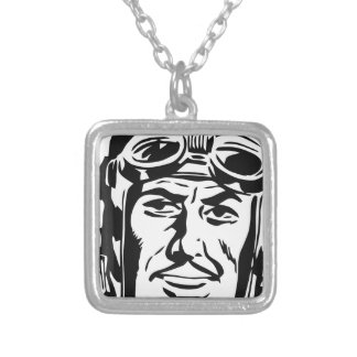 Old pilot silver plated necklace