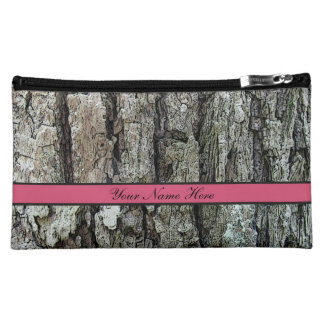 Old Pine Bark with Name on any Color Makeup Bag