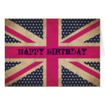 Old Pink Union Jack Flag Happy Birthday Card