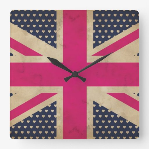 Old Pink Union Jack Flag Wall Clock
