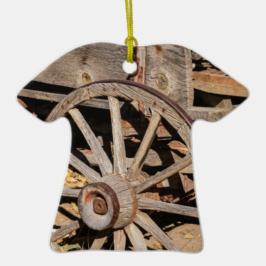 Old Pioneer's Wooden wagon in New Mexico Ceramic Ornament