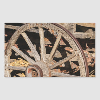 Old Pioneer's Wooden wagon in New Mexico Rectangular Sticker