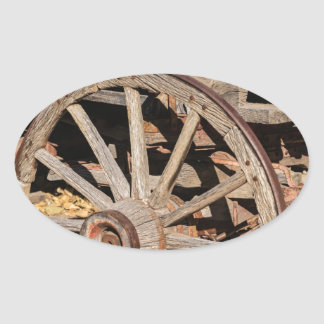Old Pioneer's Wooden wagon in New Mexico Oval Sticker