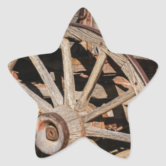 Old Pioneer's Wooden wagon in New Mexico Star Sticker