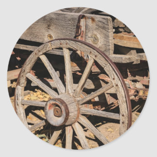 Old Pioneer's Wooden wagon in New Mexico Classic Round Sticker