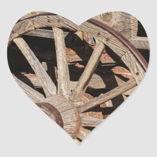 Old Pioneer's Wooden wagon in New Mexico Heart Sticker