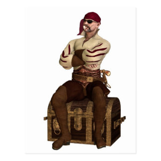 Old Pirate Sitting on a Treasure Chest Postcard