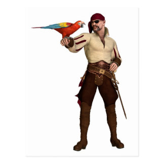 Old Pirate with Parrot Postcard