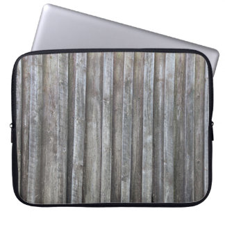 Old plank barn wall laptop computer sleeve