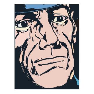 Old policeman face's postcard