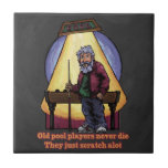 Old Pool Players Character Art Small Square Tile