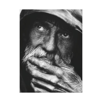 Old poor man black and white portrait canvas