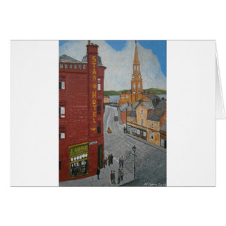 Old Port Glasgow with Town Clock Greeting Card