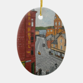 Old Port Glasgow with Town Clock Ceramic Ornament