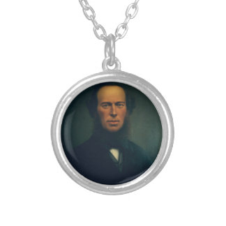 Old Portrait Silver Plated Necklace