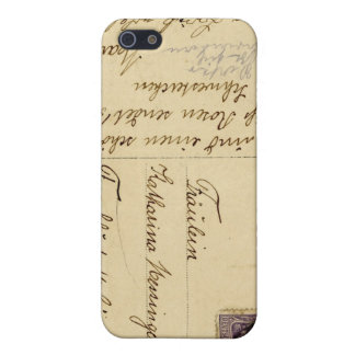 Old Post Card Iphone Case Writing Brown Beige