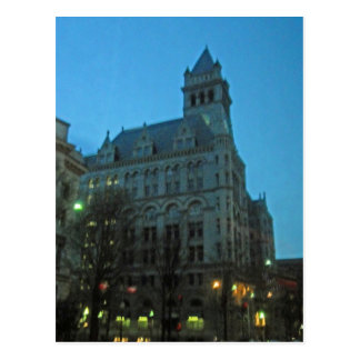 Old Post Office at Night Washington DC Postcard