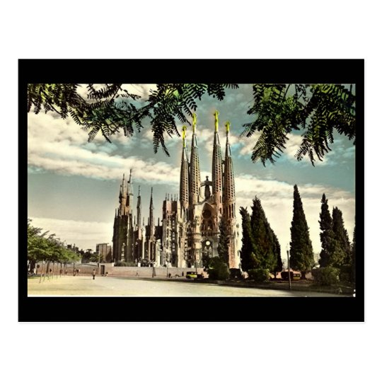 Old Postcard, Barcelona, Sagrada Familia Postcard