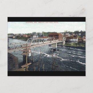 Old Postcard - Bridge and City Hall, Augusta, Main postcard