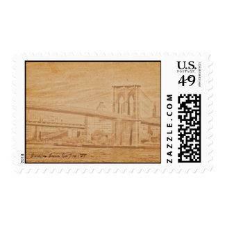 old postcard Brooklyn Bridge Postage