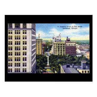 Old Postcard - Bull St, Savannah, Georgia