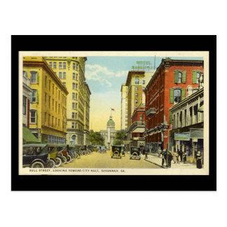 Old Postcard, Bull St, Savannah, Georgia Postcard