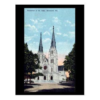 Old Postcard, Cathedral, Savannah, Georgia, USA Postcard