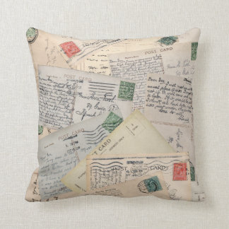Old Postcard Collage Cushion