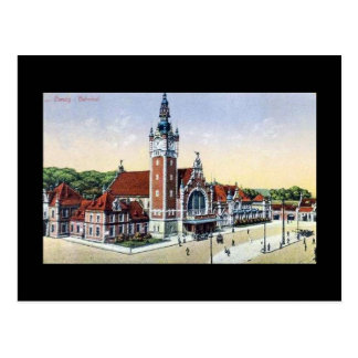 Old Postcard Gdansk Danzig Railway Station