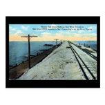 old postcard, key west, florida, railway, usa,