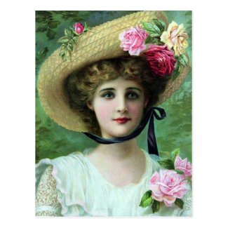 Old Postcard - Lady in a Hat