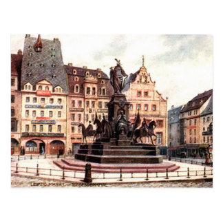 Old Postcard - Leipzig Markt