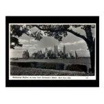 Old Postcard - Manhattan Skyline Post Card