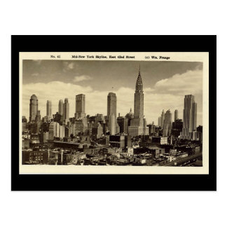 Old Postcard, New York City Skyline Postcard