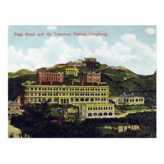 Old Postcard - Peak Hotel and Tramway Station
