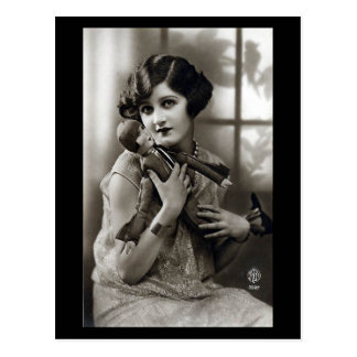 Old Postcard - Pretty Girl with Toy Soldier