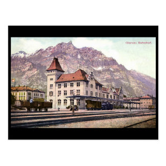 Old Postcard, Railway Station, Glarus, Switzerland Postcard