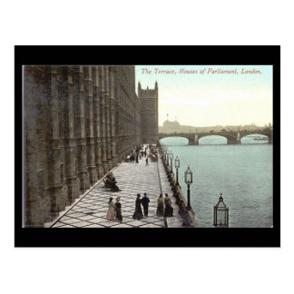 Old Postcard - Terrace, Houses of Parliament, Lond