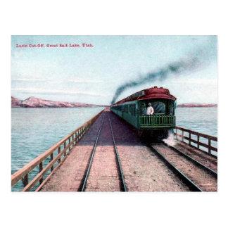 Old Postcard - Train, Great Salt Lake, Utah
