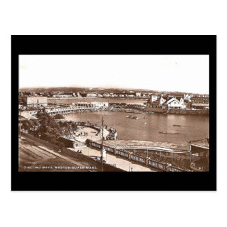 Old Postcard, Weston-super-Mare, Two Bays