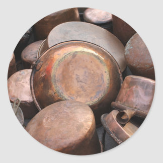 old pots and pans in the kitchen round sticker