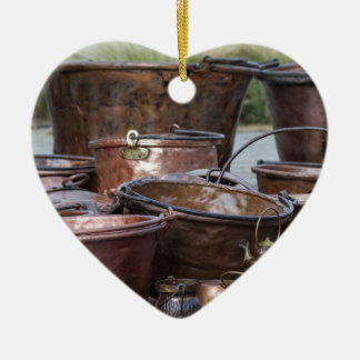 old pots and pans ceramic heart decoration