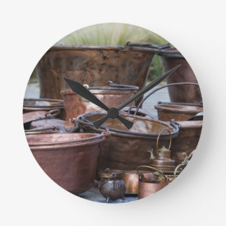 old pots and pans round clock